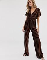 Dusty Daze wide leg velvet jumpsuit in brown and gold stripe