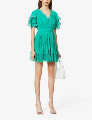 Self-Portrait Lace-trim chiffon mini dress