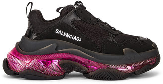 Balenciaga Triple S Clear Sole Sneakers in Black & Pink Neon | FWRD