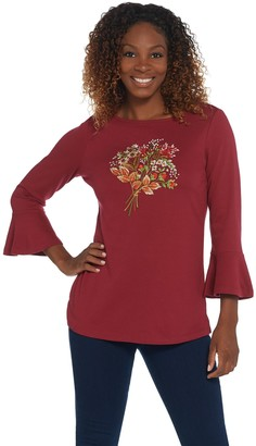 Quacker Factory Bell Sleeve Embellished Front Motif Knit Top