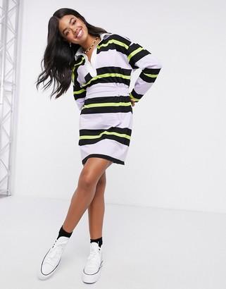 ASOS DESIGN mini dress in stripe with collar in lilac and black stripe