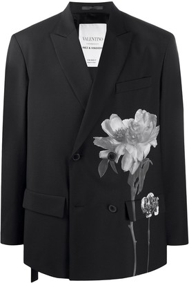 Valentino Floral-Print Oversized Blazer
