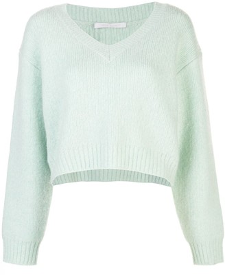 John Elliott Foggy wool-cashmere cropped v-neck jumper