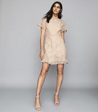 Reiss Damara - Lace Mini Dress in Pale Pink