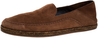 Ermenegildo Zegna Brown Suede Leather Penny Espadrille Loafers Size 41.5