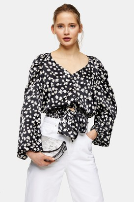 Topshop TALL Black and White Daisy Print Satin Tie Front Blouse