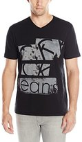 Calvin Klein Jeans Men's Cut up Ck Logo Graphic V-Neck T-Shirt