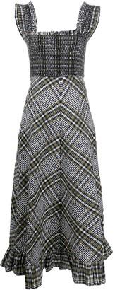 Ganni Check Print Midi Dress