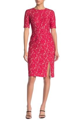 Taylor Mechanical Lace Front Slit Dress