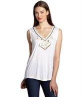 Love Sam white jersey beaded v-neck sleeveless top