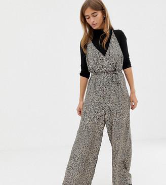 Asos DESIGN Petite strappy wrap front jumpsuit in leopard animal print-Multi