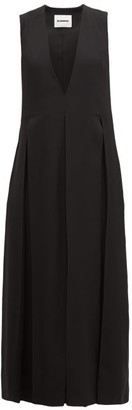 Jil Sander Envers V-neck Matte Satin Dress - Black