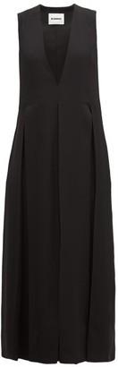 Jil Sander Envers V-neck Matte Satin Dress - Womens - Black