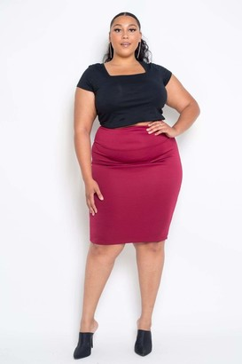 Couture Buxom Basic Pencil Skirt in Red Size 1X