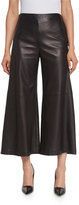 ADAM by Adam Lippes Cropped Wide-Leg Leather Culotte Pants, Black