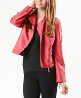 Paparazzi Red Faux Leather Moto Jacket - Women