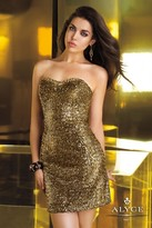 Alyce Paris - Extravagant Sequined Strapless Sweetheart Short Dress 4342