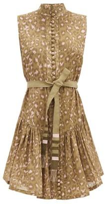 Zimmermann Carnaby Leopard-print Cotton Dress - Green Print