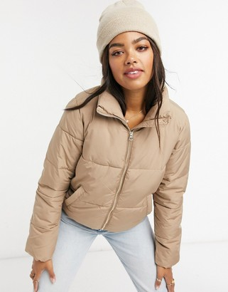JDY quilted padded jacket in tan