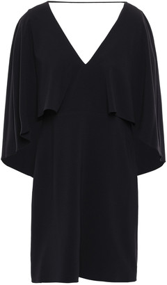 Halston Cape-effect Crepe Mini Dress