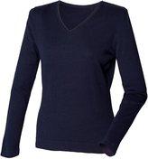 Henbury Womens/Ladies 12 Gauge Fine Knit V-Neck Jumper / Sweatshirt (L)