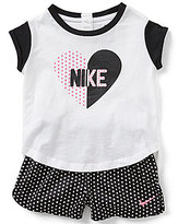 Nike Baby Girls 12-24 Months Heart Short-Sleeve Tee & Dot Print Shorts Set
