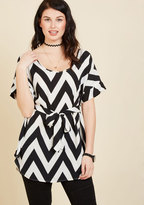 ModCloth Medium Format Memory Tunic in Black and White Zigzag in 3X