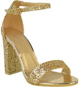 Fashion Thirsty Womens Block High Heel Ankle Strap Glitter Sandals Party Prom Shoes Size 7
