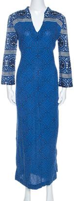 Tory Burch Blue Printed Cotton Long Sleeve Maxi Dress M