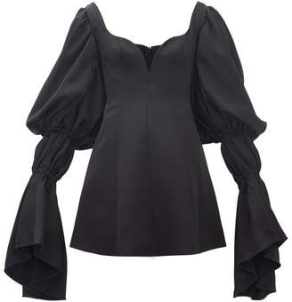 Ellery Ischia Draped-sleeve Satin Mini Dress - Womens - Black