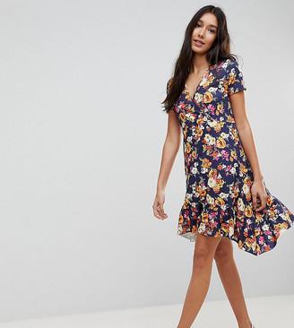 Asos Tall TALL Floral Ruffle Dip Hem Tea Dress-Multi