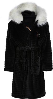 River Island Girls Black faux fur trim cosy dressing gown