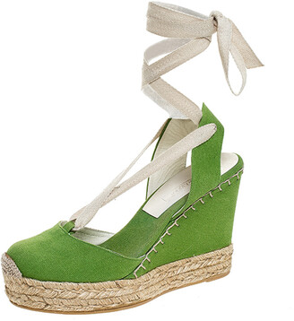 Ralph Lauren Collection Green Canvas Wedge Platform Ankle Wrap Sandals Size 39.5