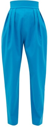 ATTICO High-rise Pleated Cotton-blend Trousers - Blue