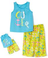 Komar Kids Yellow & Blue ' Cute' Pajama Set & Doll Pajama Set - Girls