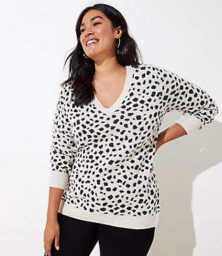 LOFT Plus Leopard Jacquard Sweater