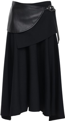 Proenza Schouler Wool Midi Skirt W/ Faux Leather Belt