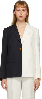 PARTOW White and Navy Silk Easton Bi-Colored Blazer