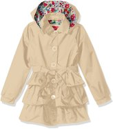 Pink Platinum Big Girls' 3 Tiered Ruffled Trench with Satin Lining