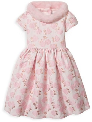 Janie and Jack Baby's, Little Girl's & Girl's Faux Fur Collar Floral Jacqaurd A-Line Dress
