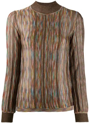 Missoni Funnel Neck Intarsia Knit Sweater