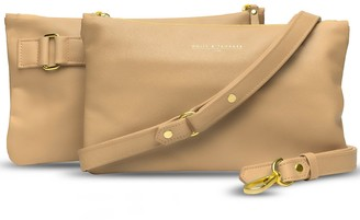 Holly & Tanager Companion Mini Leather Crossbody Clutch In Buttercream