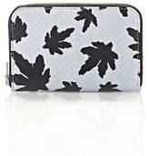 Alexander Wang Mini Compact Wallet In Pale Blue Leaf Printed Elaphe
