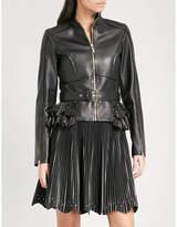 Elie Saab Pleated peplum-hem leather jacket
