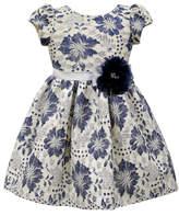 Jayne Copeland Blue & Ivory Floral Puff-Sleeve S-Line Dress - Toddler & Girls