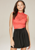 Bebe Lace Sleeveless Crop Top