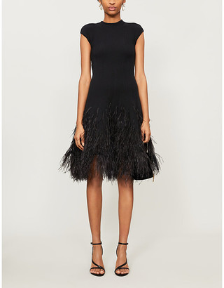 Oscar de la Renta Feathered silk-blend mini dress