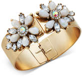 INC International Concepts I.n.c. Gold-Tone Stone & Crystal Floral Hinged Bangle Bracelet, Created for Macy's