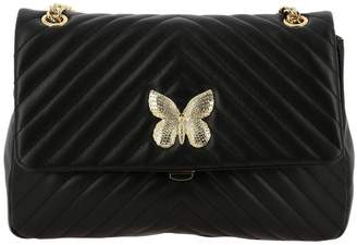Twin-Set Twinset Twin Set Shoulder Bag Shoulder Bag In Quilted Leather With Rhinestone Butterfly