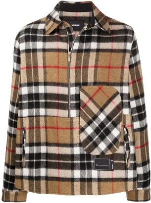 we11done Checked Half-Zip Wool Shirt
